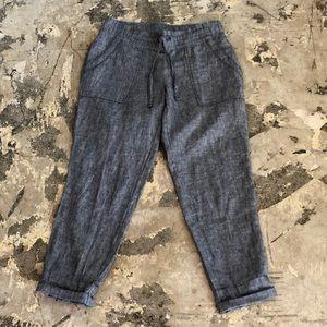 Athleta Grey Linen Ankle Pants